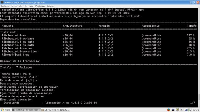 Install IdiomaEspañol_LibreOffice445_Fedora22